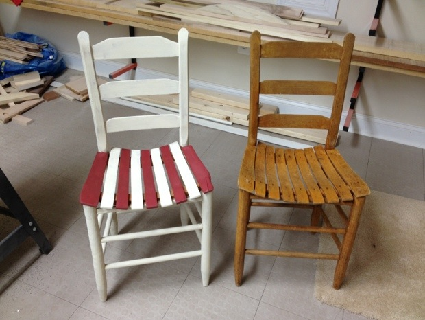 Chair on left is painted, but not waxed. Chair is right is what I started with.