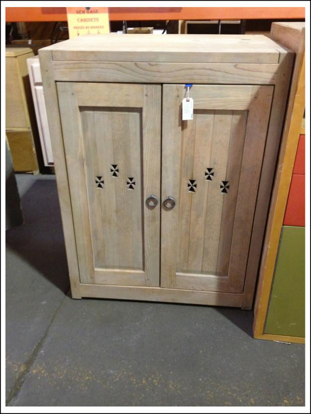 Pickled pine TV cabinet.