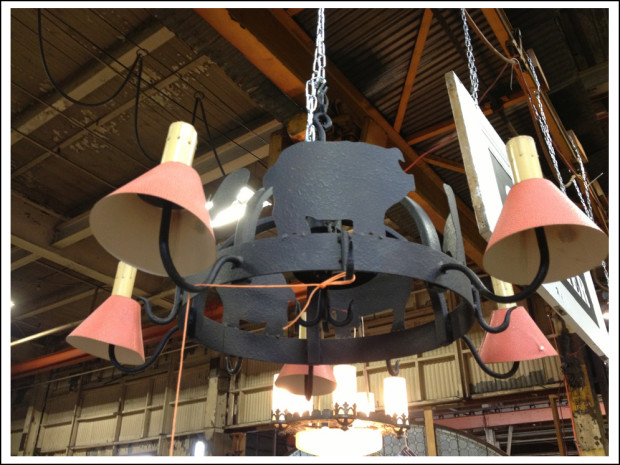 Wrought-iron farm chandelier ($89).