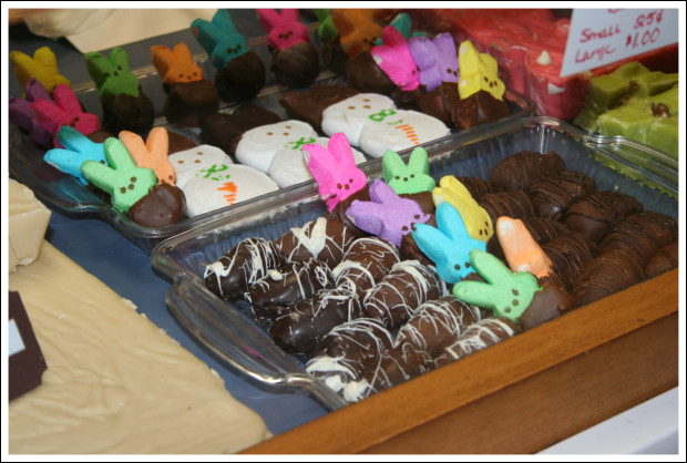 Chocolate-dipped peeps!
