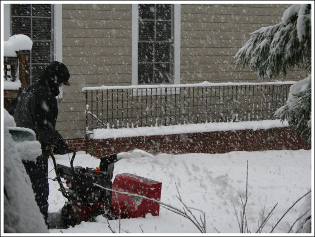Hubby with the snow blower about midday.