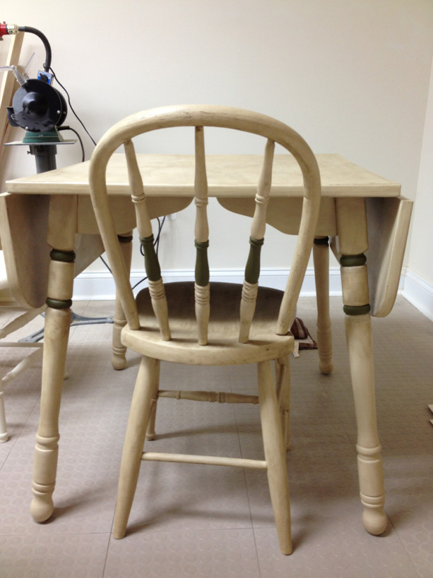 Chair & Table with Olive Accents