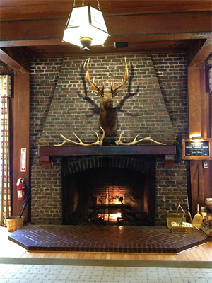 Fireplace at Lake Quinault Lodge