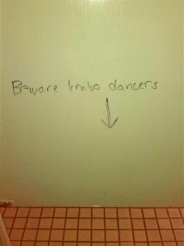 Interesting bathroom graffiti.