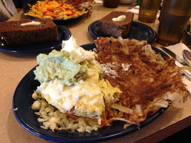 Half-order size of a chicken fajita omelet.