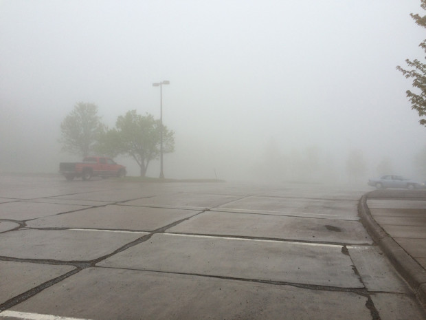 Thick fog in Duluth, Minnesota.
