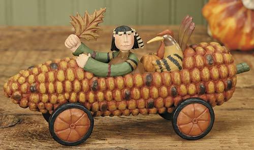 Pilgrim in Corn Car with His Turkey