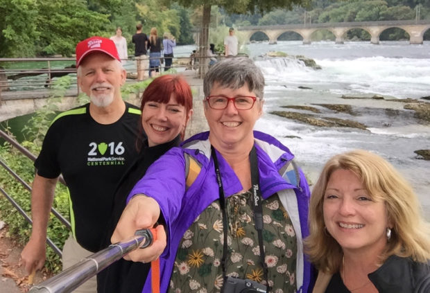 Mike, Annelies, Me, Tammi, and Yves at Rhine Falls